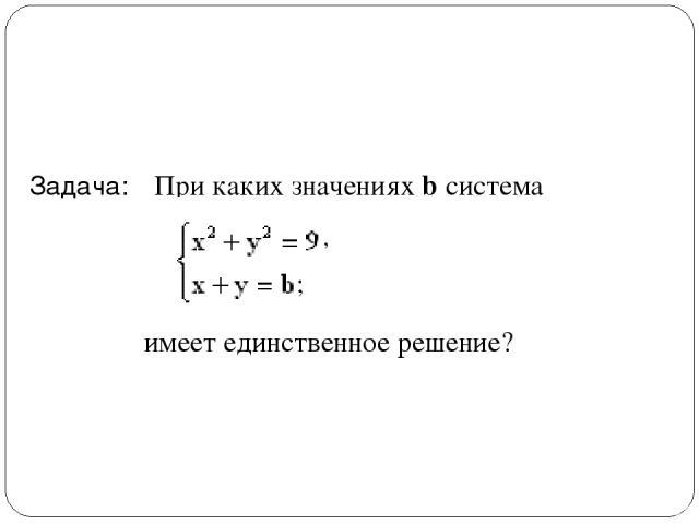 Задача: При каких значениях b система имеет единственное решение? ; ,