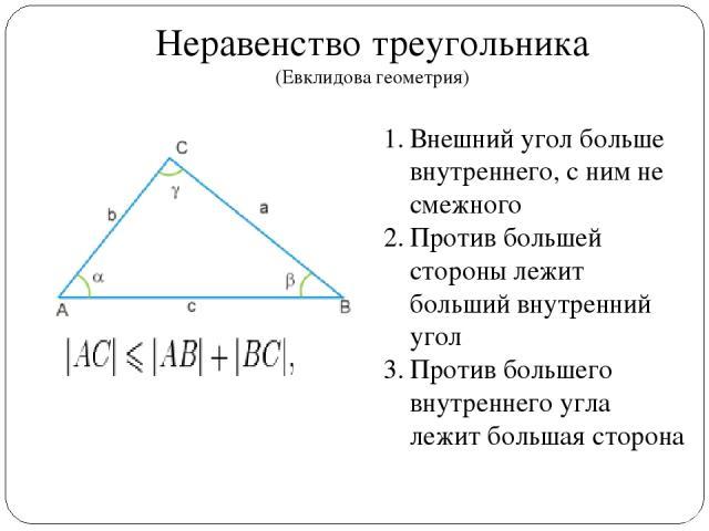 Неравенство треугольника (Евклидова геометрия) Внешний угол больше внутреннего, с ним не смежного Против большей стороны лежит больший внутренний угол Против большего внутреннего угла лежит большая сторона
