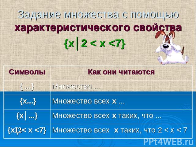 Задание множества с помощью характеристического свойства {х│2 < х