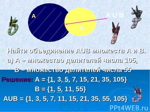 Найти объединение АUВ множеств А и В. а) А – множество делителей числа 105, В – множество делителей числа 55 Решение: А = {1, 3, 5, 7, 15, 21, 35, 105} В = {1, 5, 11, 55} АUВ = {1, 3, 5, 7, 11, 15, 21, 35, 55, 105} А В А U В