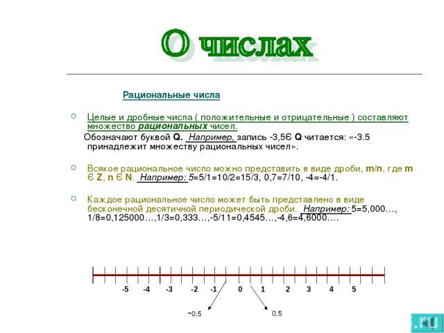 Рациональные числа Целые и дробные числа ( положительные и отрицательные ) составляют множество рациональных чисел. Обозначают буквой Q. Например, запись -3,5Є Q читается: «-3.5 принадлежит множеству рациональных чисел». Всякое рациональное число мо…