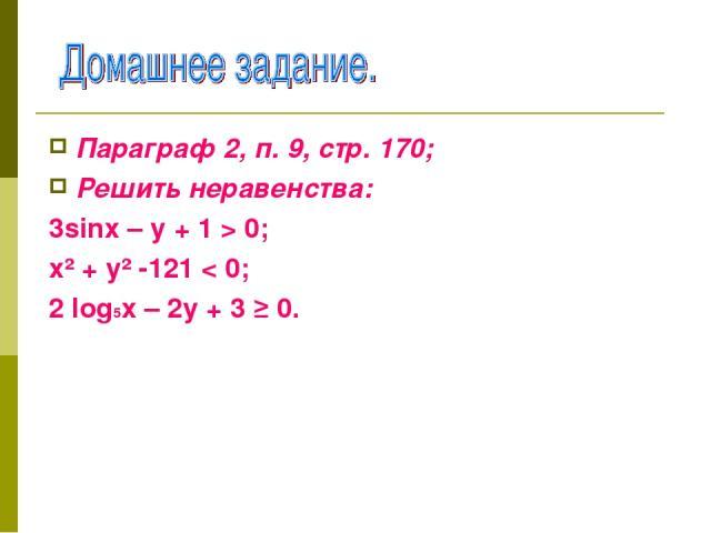 Параграф 2, п. 9, стр. 170; Решить неравенства: 3sinх – у + 1 > 0; х² + у² -121 < 0; 2 log5х – 2у + 3 ≥ 0.