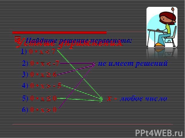 Устные упражнения Найдите решение неравенств: 1) 0 • х < 7 2) 0 • x < -7 не имеет решений 3) 0 • х ≥ 6 4) 0 • х > - 5 5) 0 • х ≤ 0 х - любое число 6) 0 • x > 0