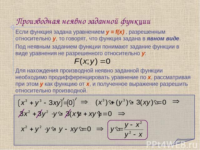 Производная неявно заданной функции Если функция задана уравнением y = f(х) , разрешенным относительно y, то говорят, что функция задана в явном виде. Для нахождения производной неявно заданной функции необходимо продифференцировать уравнение по х, …