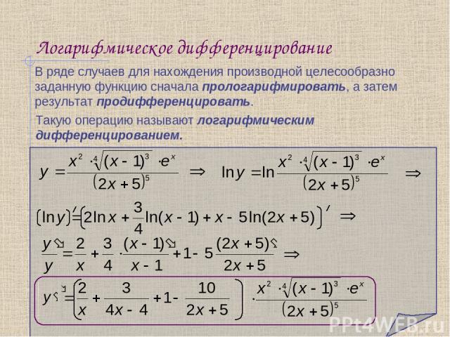 Логарифмическое дифференцирование В ряде случаев для нахождения производной целесообразно заданную функцию сначала прологарифмировать, а затем результат продифференцировать. Такую операцию называют логарифмическим дифференцированием.