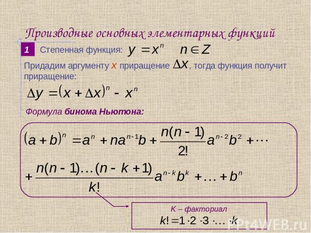 Производные основных элементарных функций 1 Формула бинома Ньютона: Степенная функция: K – факториал