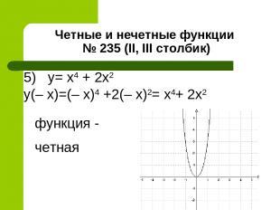 Четные и нечетные функции № 235 (II, III столбик) 5) y= x4 + 2х2 y(– x)=(– x)4 +