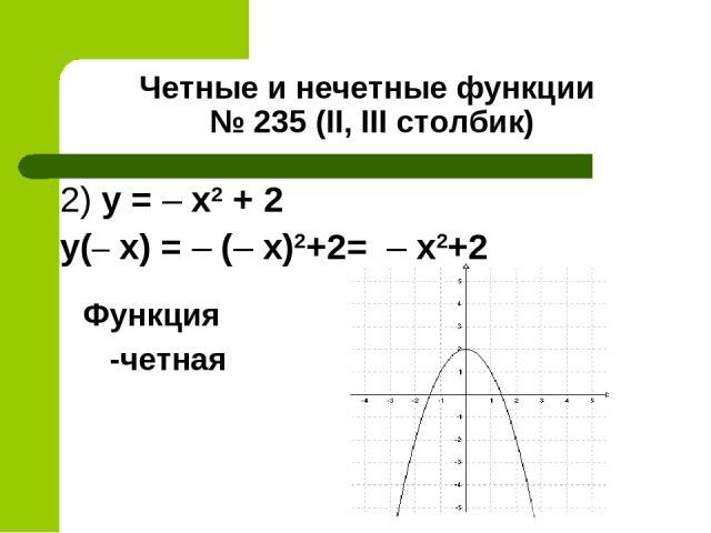 Четные и нечетные функции № 235 (II, III столбик) 2) y = – x2 + 2 y(– x) = – (– x)2+2= – х2+2 Функция -четная
