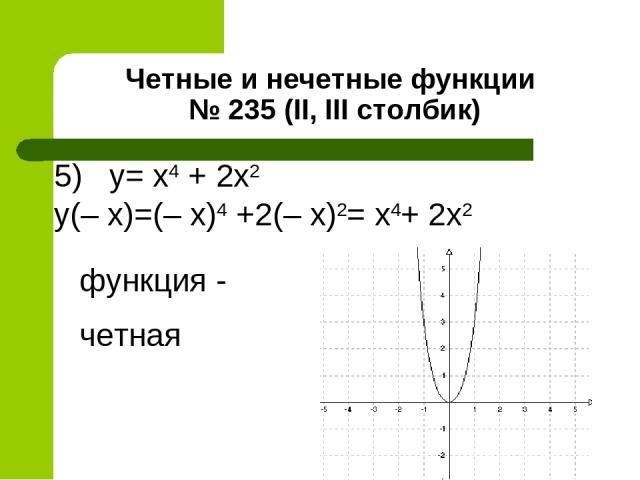 Четные и нечетные функции № 235 (II, III столбик) 5) y= x4 + 2х2 y(– x)=(– x)4 +2(– х)2= х4+ 2х2 функция - четная