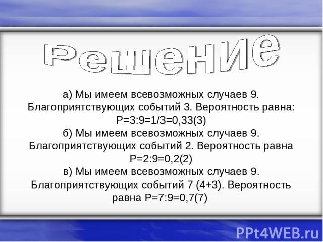 а) Мы имеем всевозможных случаев 9. Благоприятствующих событий 3. Вероятность равна: P=3:9=1/3=0,33(3) б) Мы имеем всевозможных случаев 9. Благоприятствующих событий 2. Вероятность равна P=2:9=0,2(2) в) Мы имеем всевозможных случаев 9. Благоприятств…