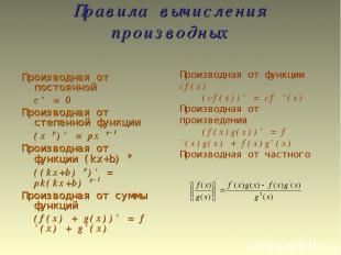 Правила вычисления производных Производная от постоянной c' = 0 Производная от с