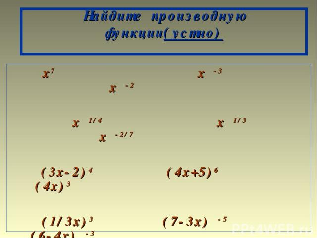 Найдите производную функции(устно) x7 x -3 x -2 x 1/4 x 1/3 x -2/7 (3x-2)4 (4x+5)6 (4x)3 (1/3x)3 (7-3x) -5 (6-4x) -3 (3x-5) -6 ( x -1)-2/7 (-2/5x+1) -2/7