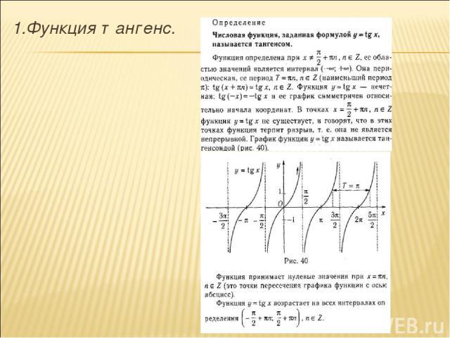 1.Функция тангенс.