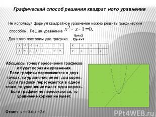 Графический способ решения квадратного уравнения Не используя формул квадратное