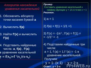 Алгоритм нахождения уравнения касательной 1. Обозначить абсциссу точки касания б
