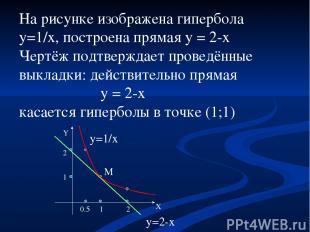 На рисунке изображена гипербола y=1/x, построена прямая y = 2-x Чертёж подтвержд