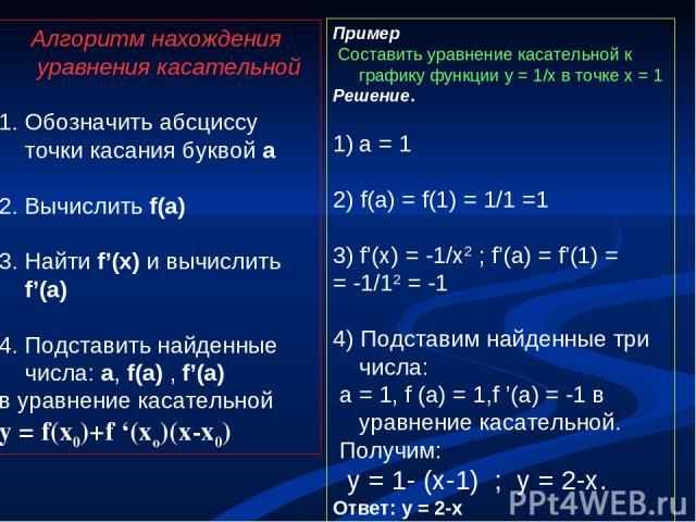 Алгоритм нахождения уравнения касательной 1. Обозначить абсциссу точки касания буквой а Вычислить f(a) Найти f'(x) и вычислить f'(a) Подставить найденные числа: a, f(a) , f'(a) в уравнение касательной y = f(x0)+f '(xo)(x-x0) Пример Составить уравнен…