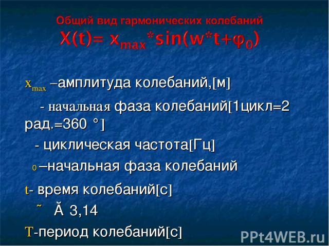 xmax –амплитуда колебаний,[м] φ - начальная фаза колебаний[1цикл=2π рад.=360 °] ω- циклическая частота[Гц] φ0 –начальная фаза колебаний t- время колебаний[с] ∏ ≈ 3,14 T-период колебаний[с] ω