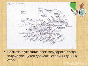 Возможно указание всех государств, тогда задача учащихся дописать столицы данных
