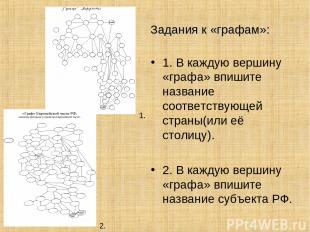 Задания к «графам»: 1. В каждую вершину «графа» впишите название соответствующей