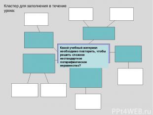 Кластер для заполнения в течение урока: Какой учебный материал необходимо повтор