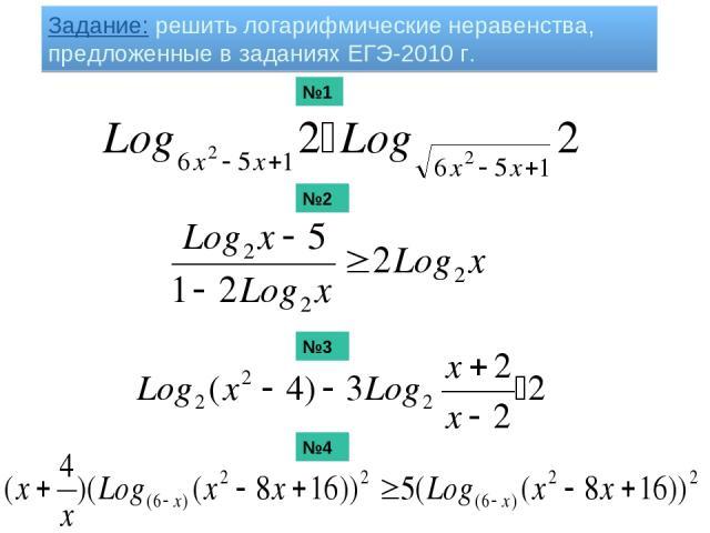 Задание: решить логарифмические неравенства, предложенные в заданиях ЕГЭ-2010 г. №1 №2 №3 №4