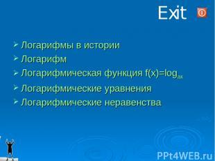 Exit Логарифмы в истории Логарифм Логарифмическая функция f(x)=logax Логарифмиче