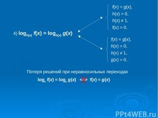 4) logh(x) f(x) = logh(x) g(x) Потеря решений при неравносильных переходах loga