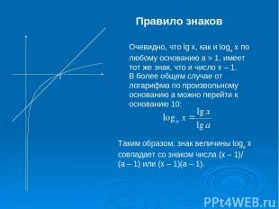 Правило знаков Очевидно, что lgx, как и logax по любому основанию a>1, имеет