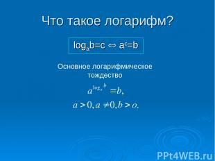 Что такое логарифм? logab=c Û ac=b Основное логарифмическое тождество