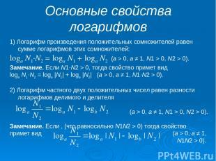 Основные свойства логарифмов 1) Логарифм произведения положительных сомножителей
