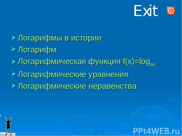 Exit Логарифмы в истории Логарифм Логарифмическая функция f(x)=logax Логарифмические уравнения Логарифмические неравенства
