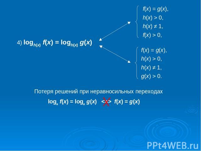 4) logh(x) f(x) = logh(x) g(x) Потеря решений при неравносильных переходах loga f(x) = loga g(x)   f(x) = g(x)