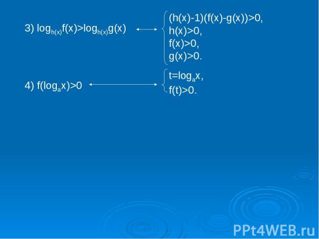 3) logh(x)f(x)>logh(x)g(x) (h(x)-1)(f(x)-g(x))>0, h(x)>0, f(x)>0, g(x)>0. 4) f(logax)>0 t=logax, f(t)>0.