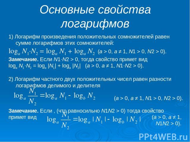 Основные свойства логарифмов 1) Логарифм произведения положительных сомножителей равен сумме логарифмов этих сомножителей: loga N1·N2 = loga N1 + loga N2 (a > 0, a ≠ 1, N1 > 0, N2 > 0). Замечание. Если N1·N2 > 0, тогда свойство примет вид loga N1·N…