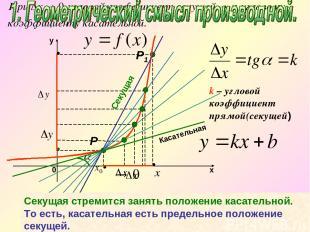 k – угловой коэффициент прямой(секущей) Секущая стремится занять положение касат