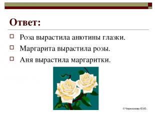 © Черноскова Ю.Ю. Ответ: Роза вырастила анютины глазки. Маргарита вырастила розы