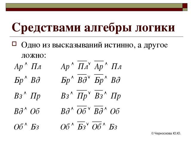 © Черноскова Ю.Ю. Одно из высказываний истинно, а другое ложно: Средствами алгебры логики © Черноскова Ю.Ю.