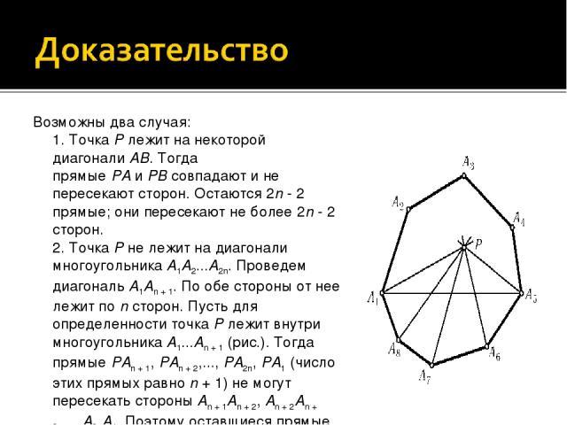 Возможны два случая: 1. ТочкаPлежит на некоторой диагоналиAB. Тогда прямыеPAиPBсовпадают ине пересекают сторон. Остаются 2n- 2 прямые; они пересекают не более 2n- 2 сторон. 2. ТочкаPне лежит на диагонали многоугольникаA1A2...A2n. Пров…