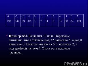 Пример №2. Разделим 32 на 8. Обращаем внимание, что в таблице над 32 написано 5,