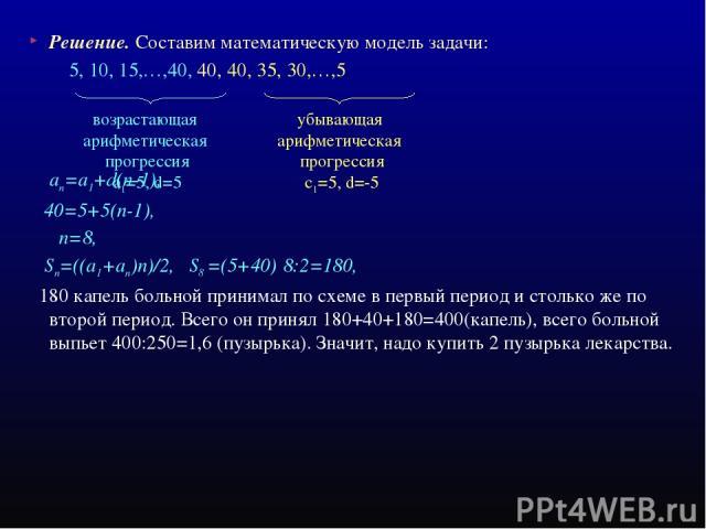 Решение. Составим математическую модель задачи: 5, 10, 15,…,40, 40, 40, 35, 30,…,5 ап=а1+d(n-1), 40=5+5(п-1), п=8, Sп=((a1+aп)n)/2, S8 =(5+40)·8:2=180, 180 капель больной принимал по схеме в первый период и столько же по второй период. Всего он прин…