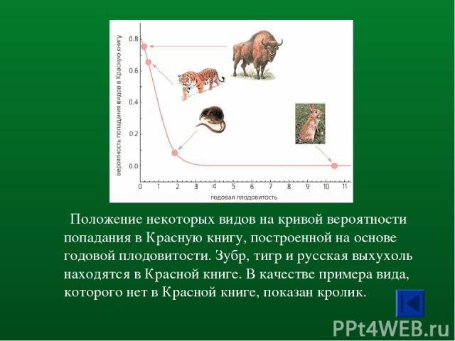 Положение некоторых видов на кривой вероятности попадания в Красную книгу, построенной на основе годовой плодовитости. Зубр, тигр и русская выхухоль находятся в Красной книге. В качестве примера вида, которого нет в Красной книге, показан кролик.