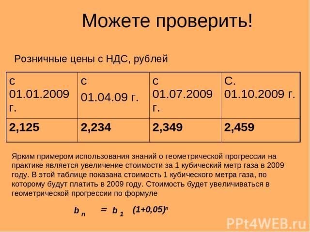 Можете проверить! Розничные цены с НДС, рублей Ярким примером использования знаний о геометрической прогрессии на практике является увеличение стоимости за 1 кубический метр газа в 2009 году. В этой таблице показана стоимость 1 кубического метра газ…