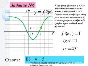 Задание №6 0 1 1 3 К графику функции y = f(x) проведена касательная в точке с аб