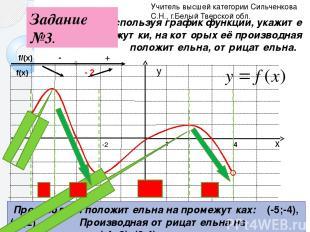 1 Используя график функции, укажите промежутки, на которых её производная положи