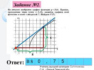 Задание №2. Ответ: 6 8 Учитель высшей категории Сильченкова С.Н., г.Белый Тверск