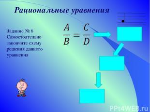 Рациональные уравнения Задание № 6 Самостоятельно закончите схему решения данног