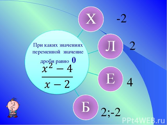 При каких значениях переменной значение дроби равно 0 -2 2 4 2;-2