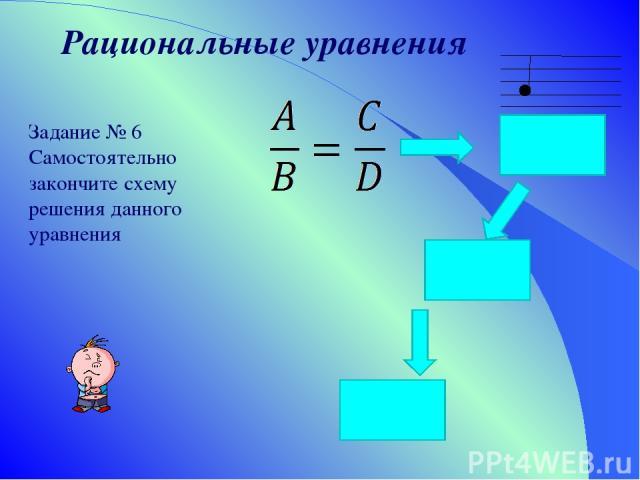 Рациональные уравнения Задание № 6 Самостоятельно закончите схему решения данного уравнения