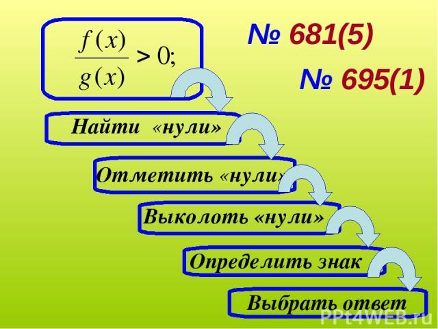 Выбрать ответ Определить знак Найти «нули» Отметить «нули» Выколоть «нули» № 681(5) № 695(1)
